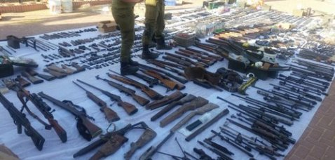 The large cache of Palestinian weapons confiscated by the Israel Police. Credit: Israel Police.